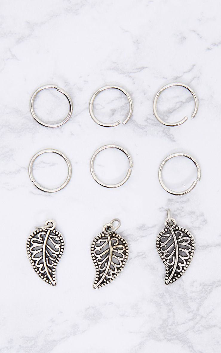 Silver Leaf Charm Hair Rings