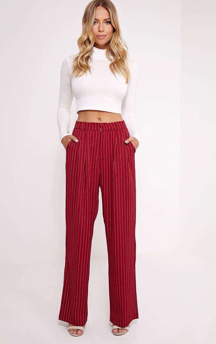 Adalyn Burgundy Pinstripe Wide Leg Trousers 1