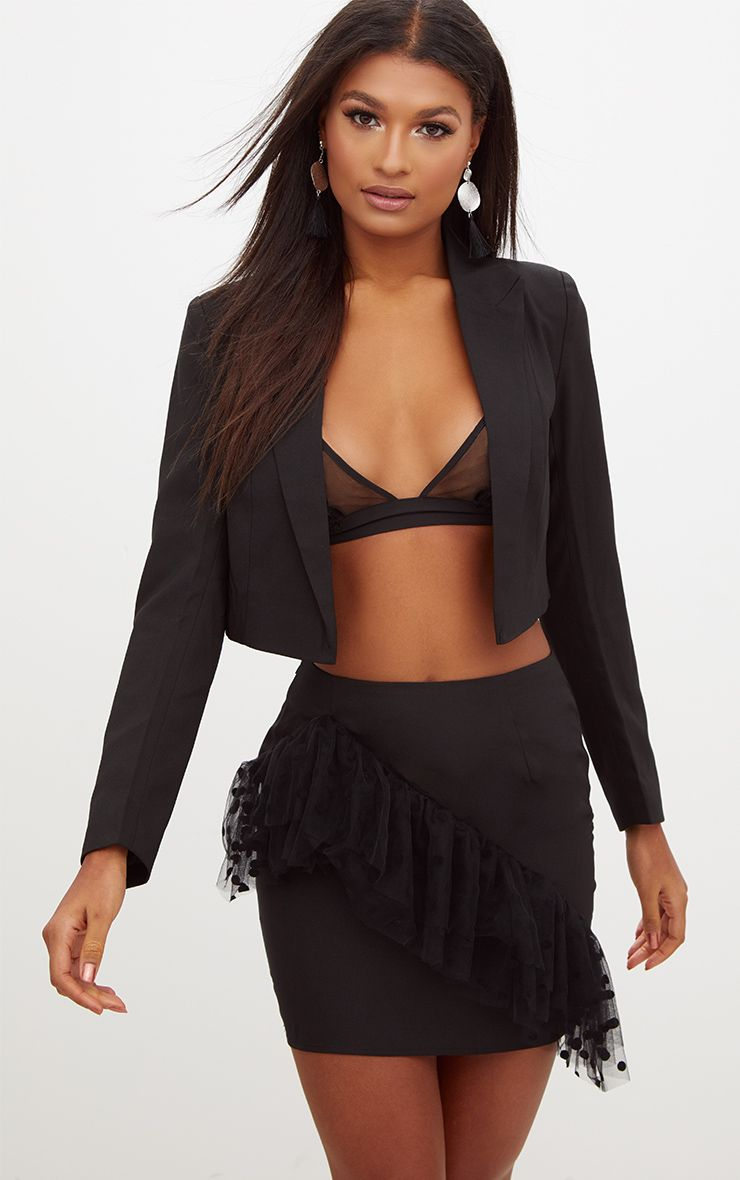 Black Cropped Suit Jacket