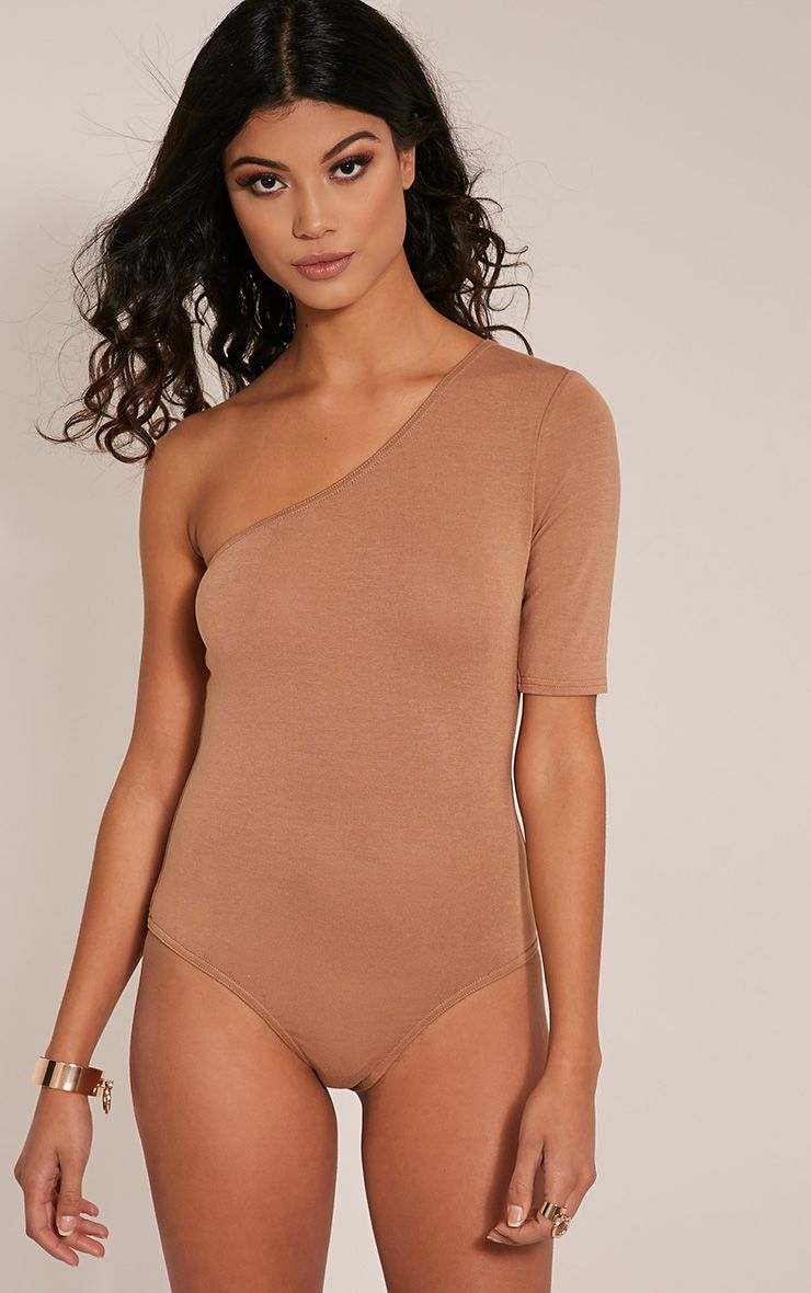 Jess Camel One Shoulder Jersey Thong Bodysuit Tops