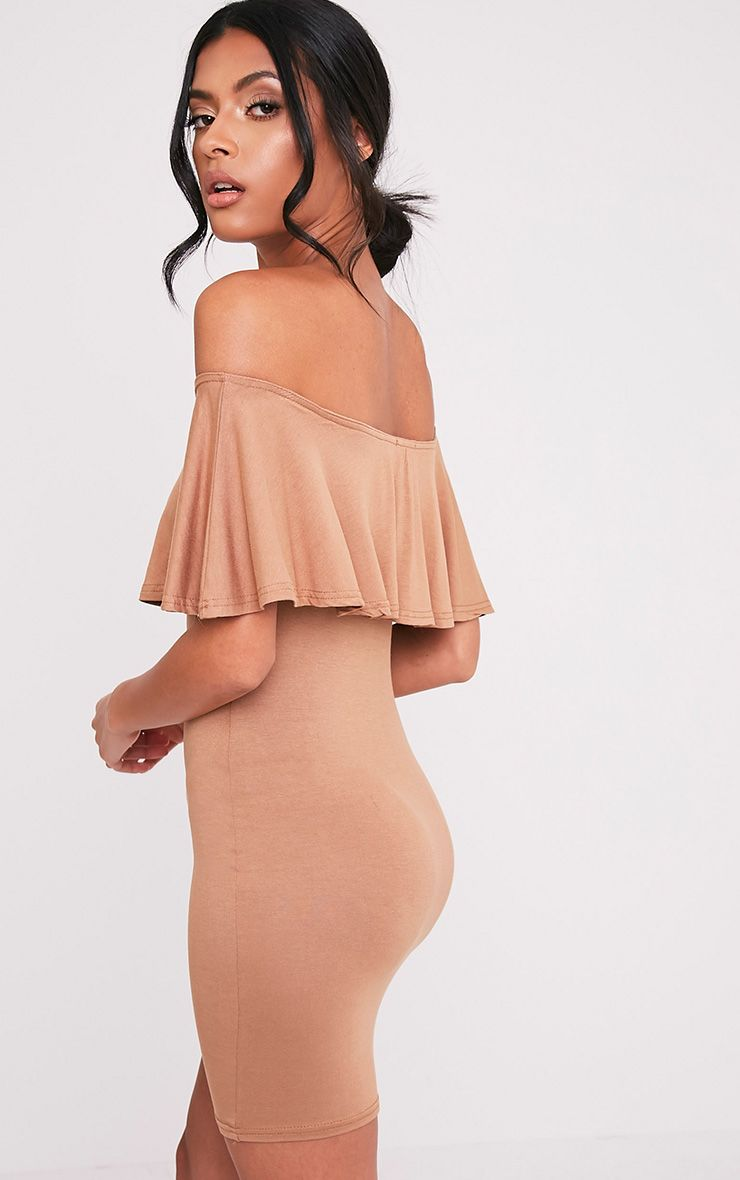Sereen Camel Frill Bardot Bodycon Dress 1