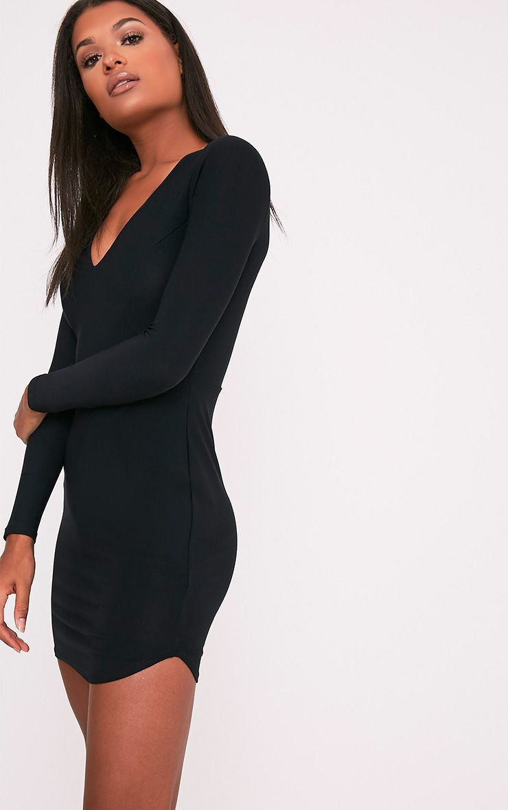 Shylo Black Long Sleeve Plunge Bodycon Dress 4