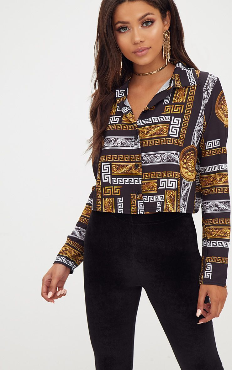 Black Chain Print Crop Shirt