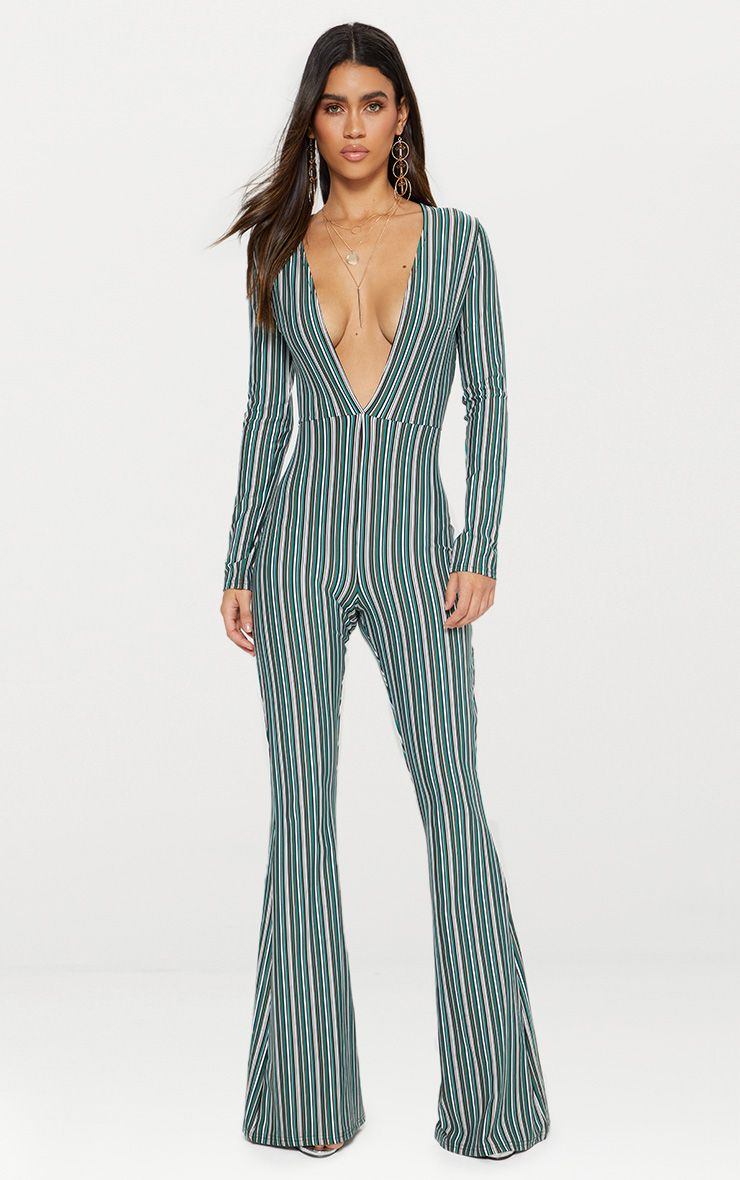Green Striped Long Sleeve Plunge Jumpsuit