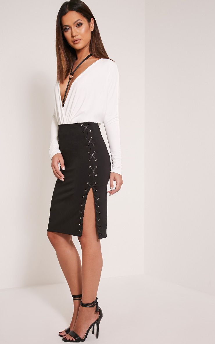 Milly Black Lace Up Side Midi Skirt 1