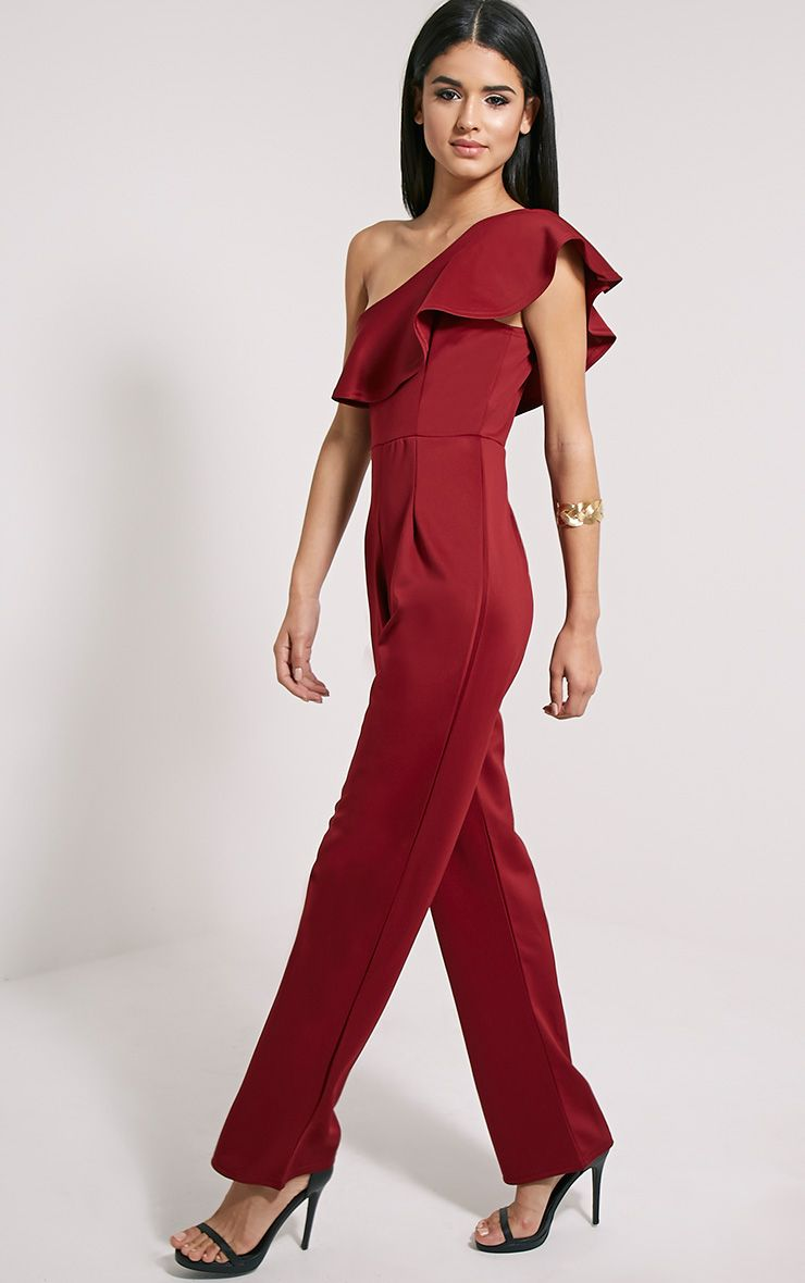 Kerry Wine One Shoulder Frill Jumpsuit 1
