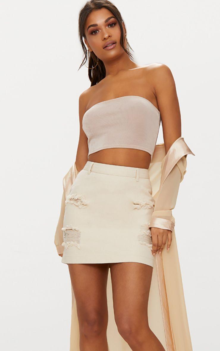 Ecru Roschian Distress Mini Skirt