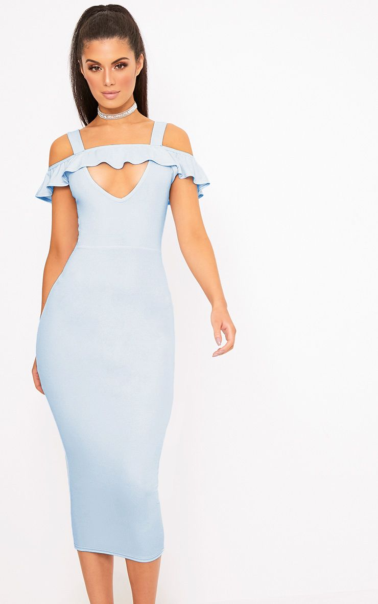 Dusty Blue Cold Shoulder Tie Back Midi Dress