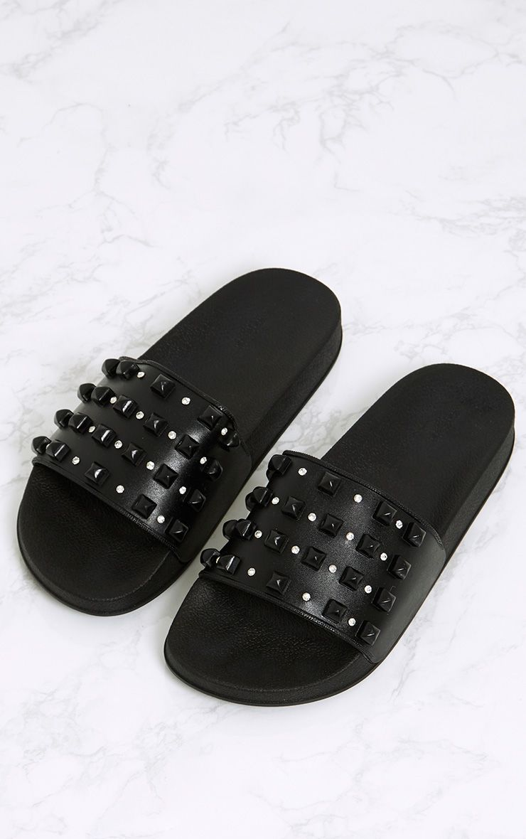 Peggy Black Studded Sliders