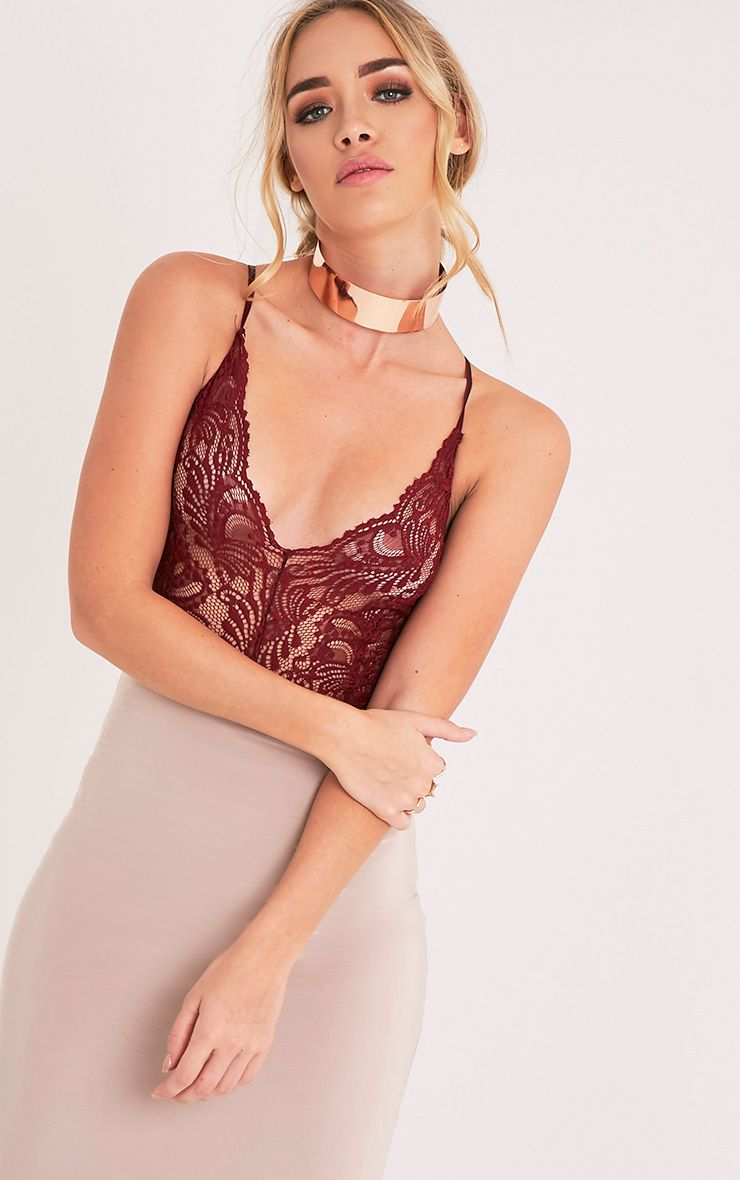 Lucille Burgundy Sheer Lace Cross Back Bodysuit