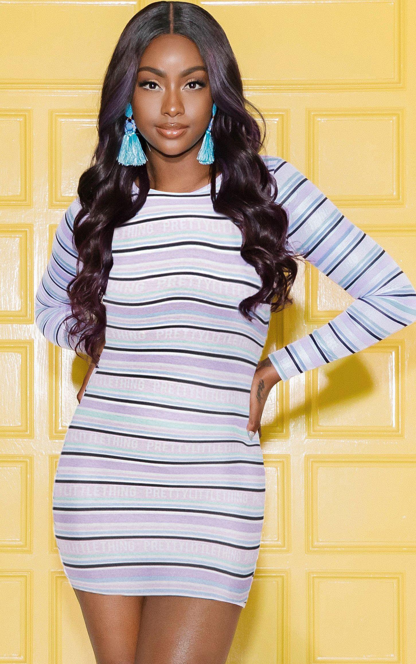 Lilac PrettyLittleThing Long Sleeve Bodycon Dress