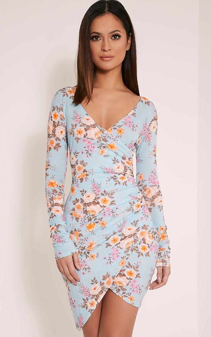 Kendi Blue Floral Wrap Mini Dress 1