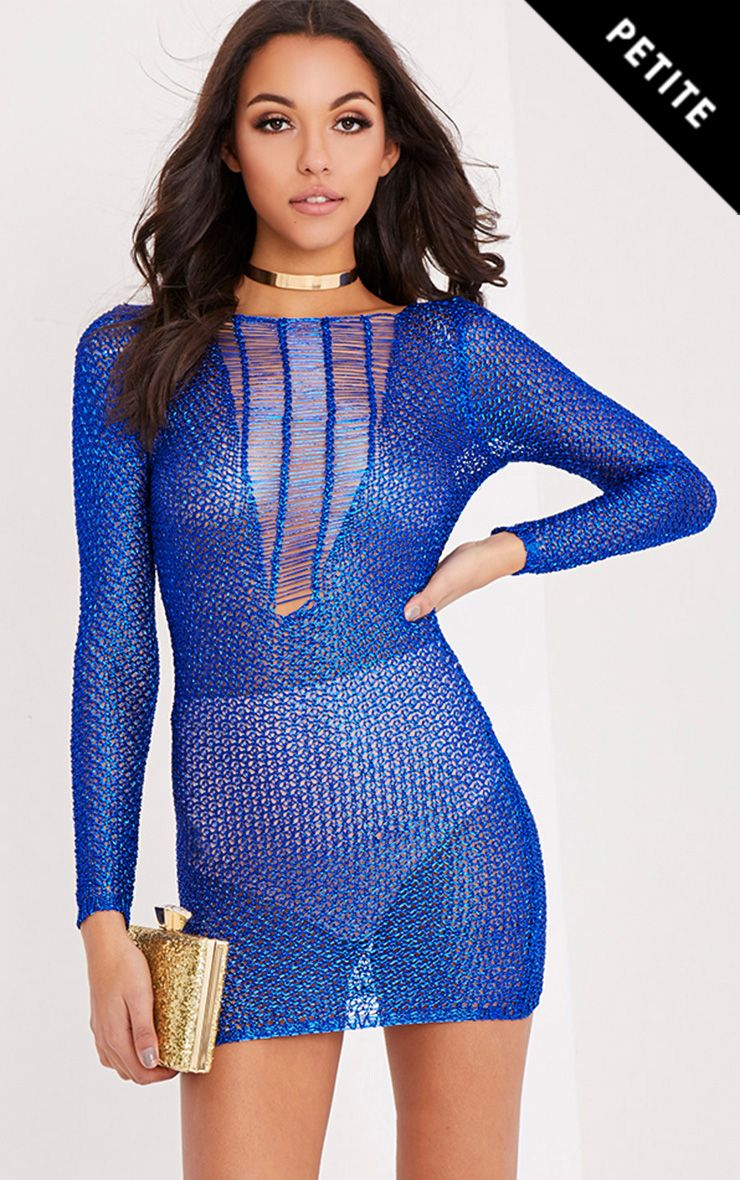 Kay Petite Blue Metallic Knitted Mini Dress