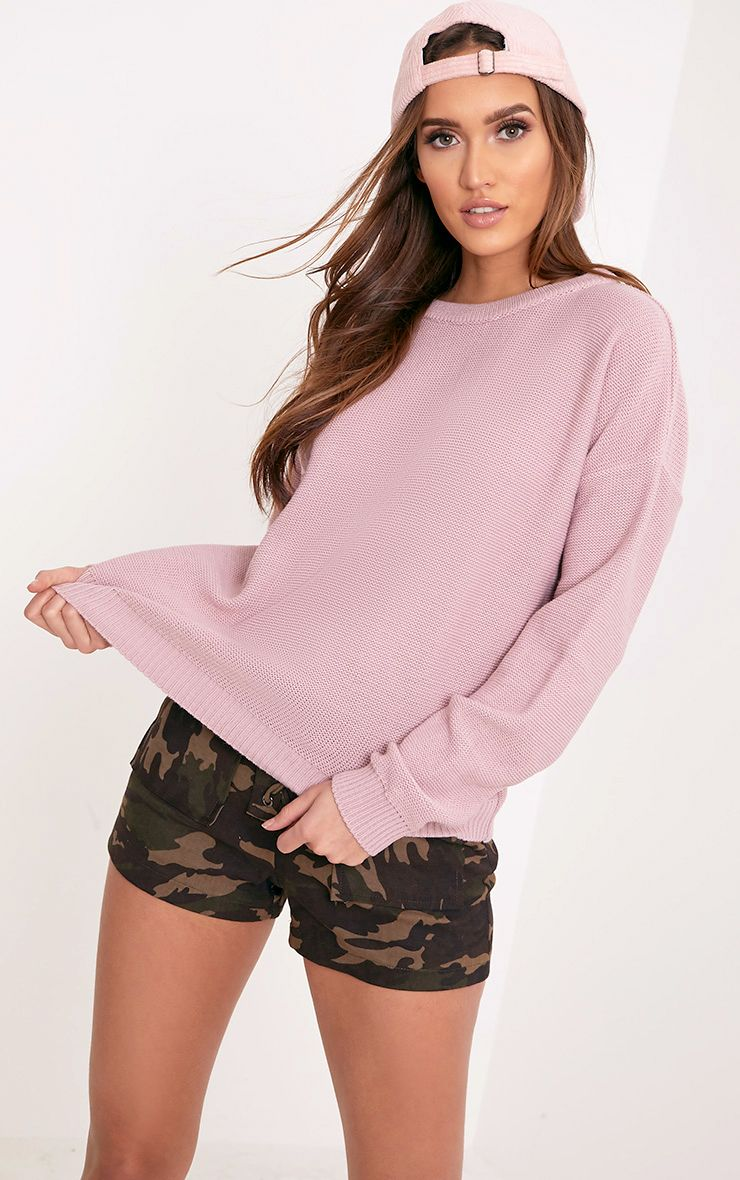 Roberta Dusty Pink Round Neck Knitted Jumper