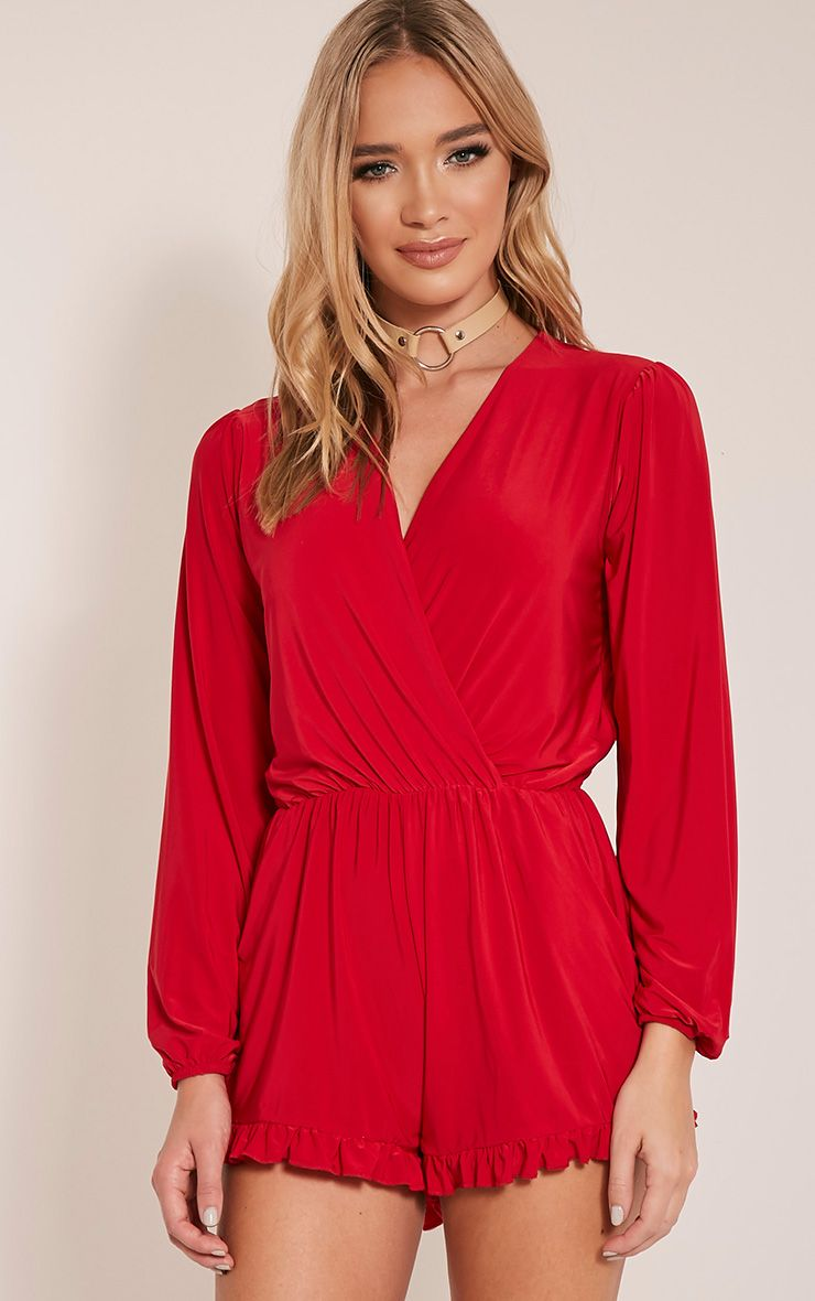 Sheryl Red Frill Hem Wrap Front Playsuit 1