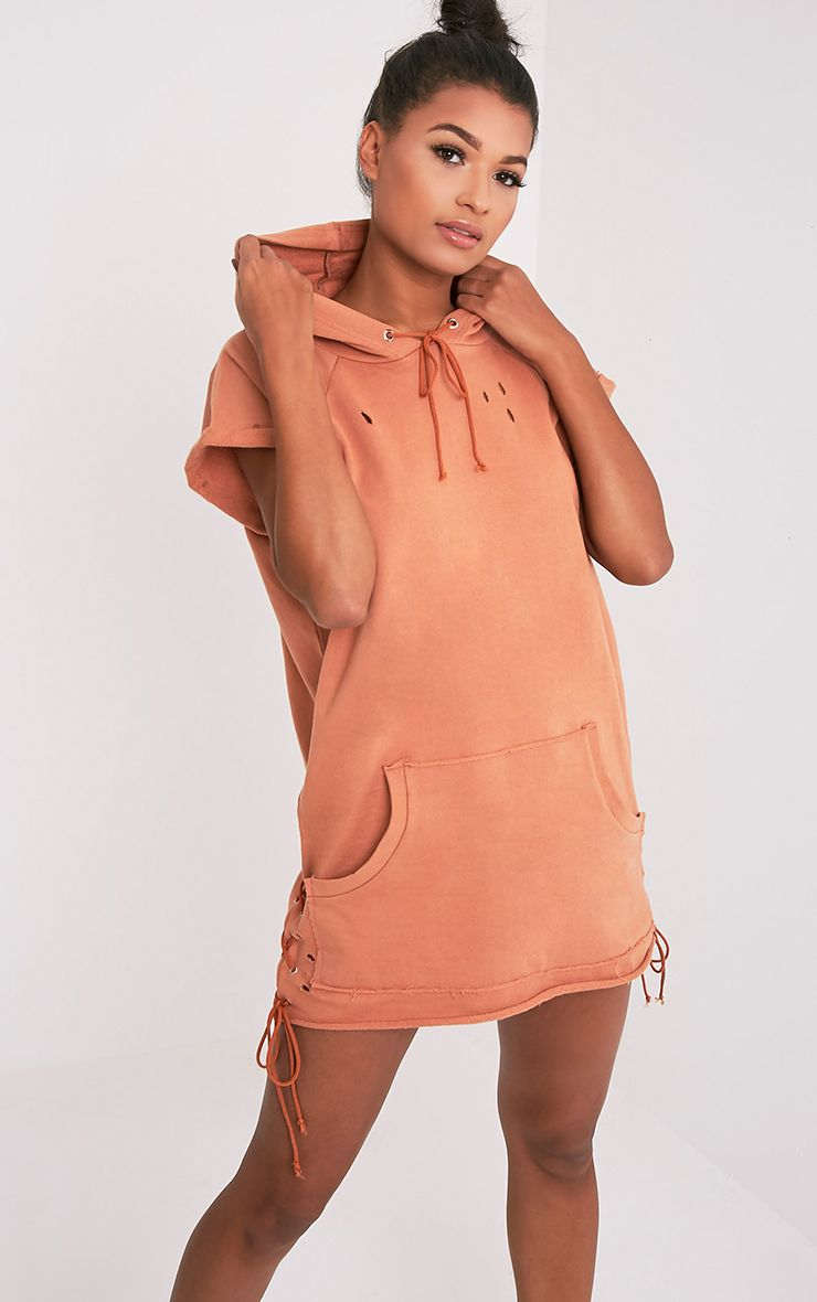 Tilly Deep Peach Distressed Lace Up Detail Sweater Dress