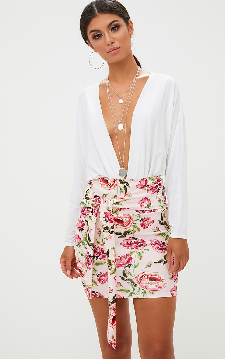 Pink Floral Tie High Waisted Mini Skirt