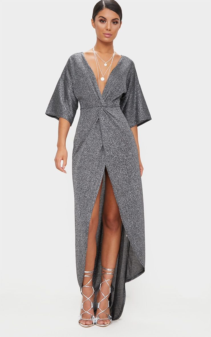 Silver Plunge Knot Detail Batwing Sleeve Extreme Split Maxi Dress