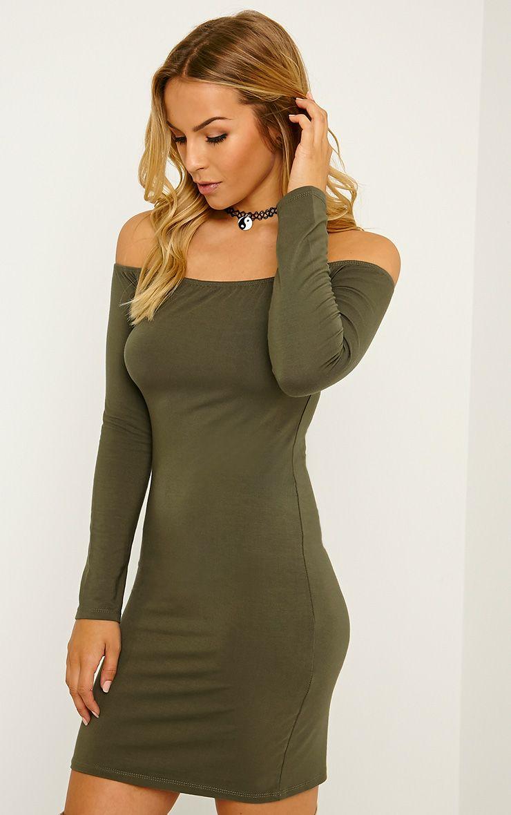 Carina Khaki Bardot Mini Dress 1