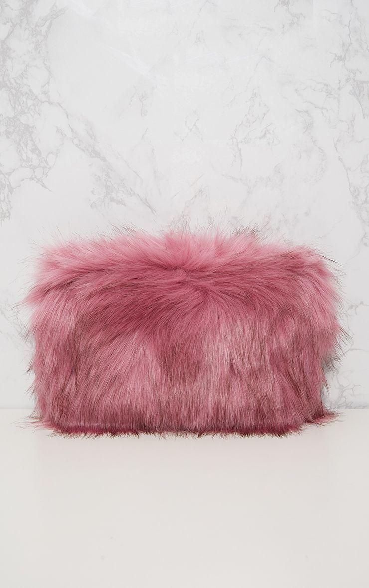kylah sac pochette en fausse fourrure rose accessoires. Black Bedroom Furniture Sets. Home Design Ideas