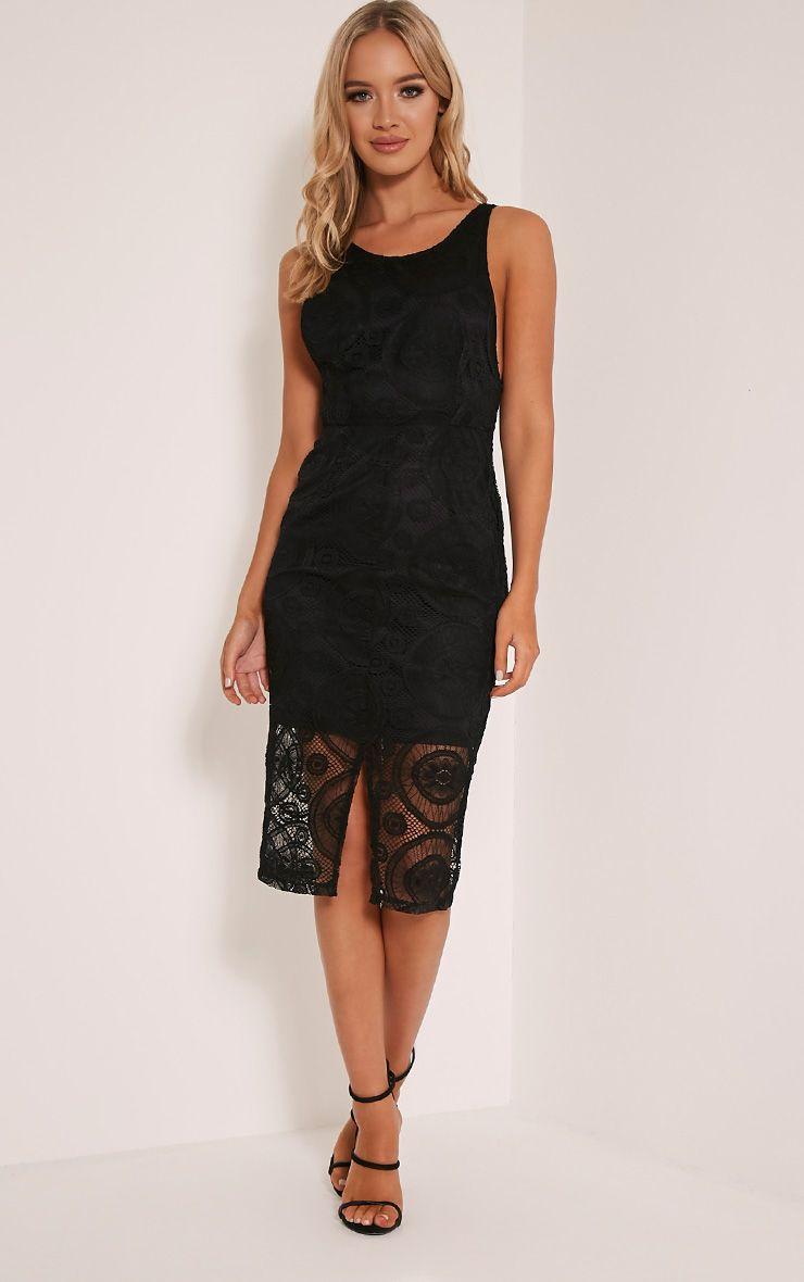 Tammy Black Scoop Back Lace Midi Dress 1