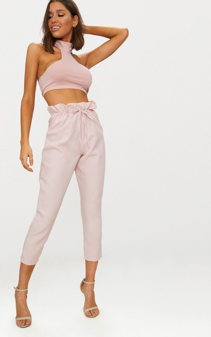 Blush Woven Paperbag Slim Leg Trousers