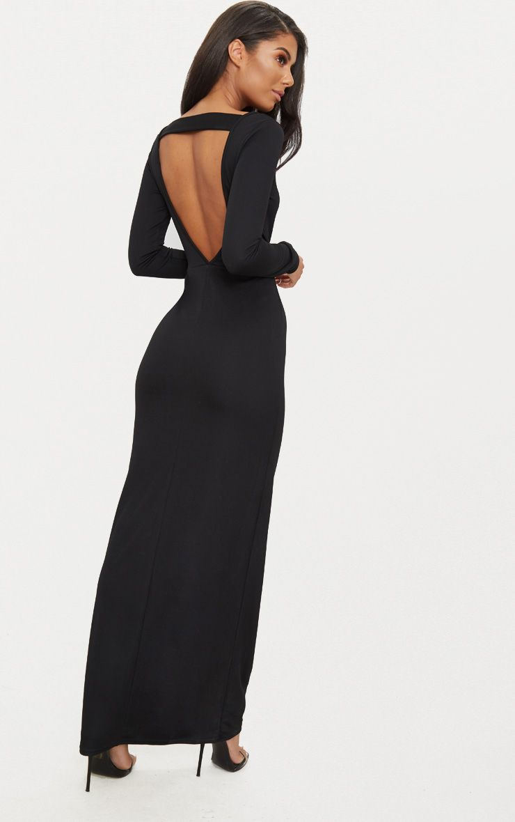 Black Backless Strap Detail Long Sleeve Maxi Dress