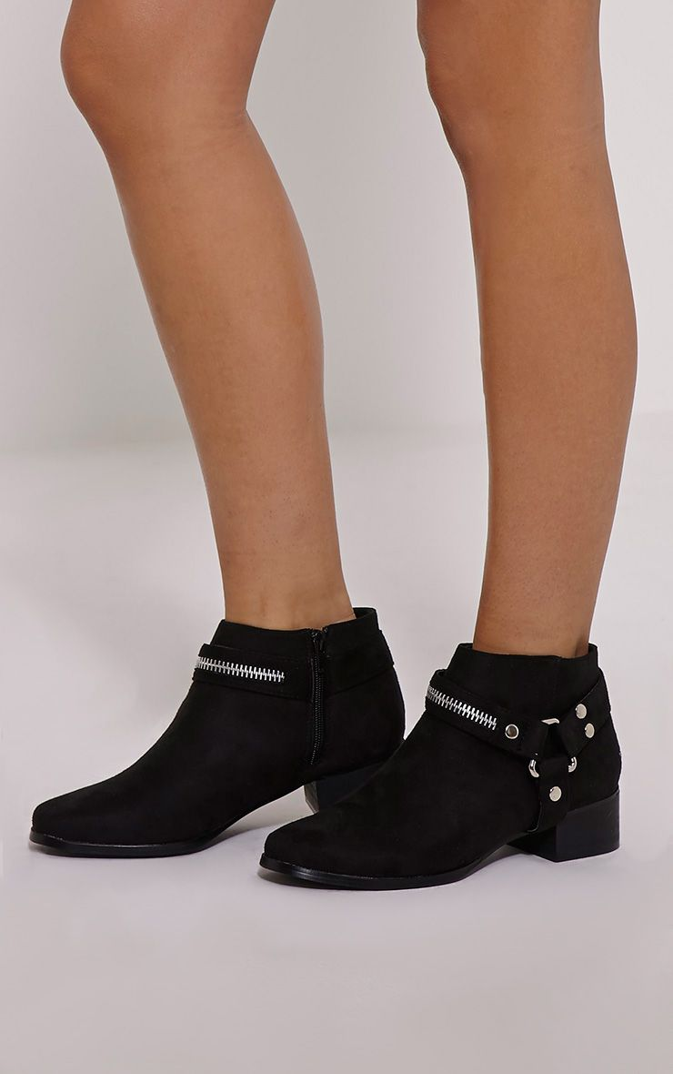 Kareena Black Suede Metal Detail Boots 1