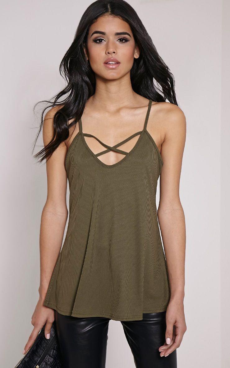 Almara Khaki Cross Front Cami Vest Top 1