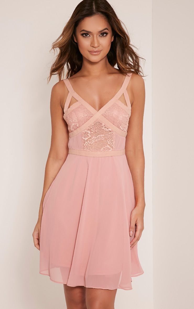 Abela Dusty Pink Lace Panel Skater Dress 1