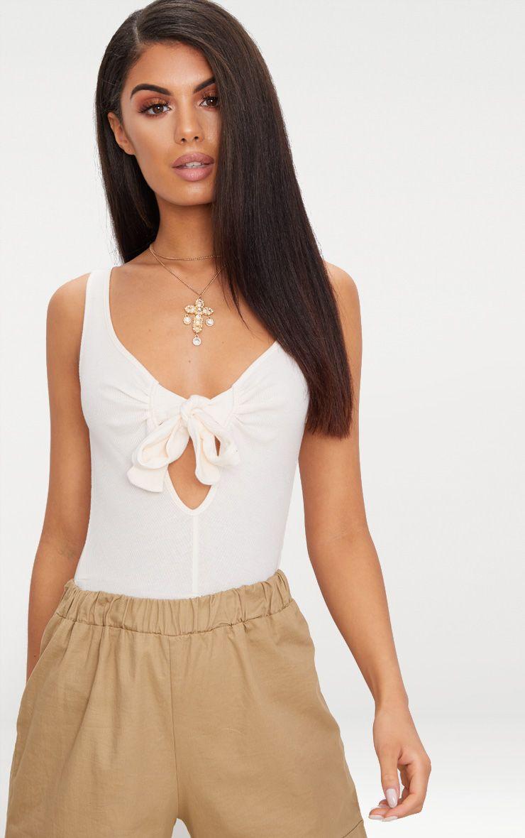 Cream Rib Bow Detail Thong Bodysuit