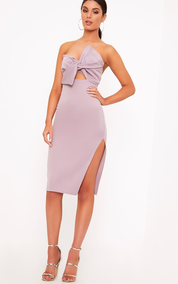 Elisse Mauve Bow Detail Scuba Midi Dress