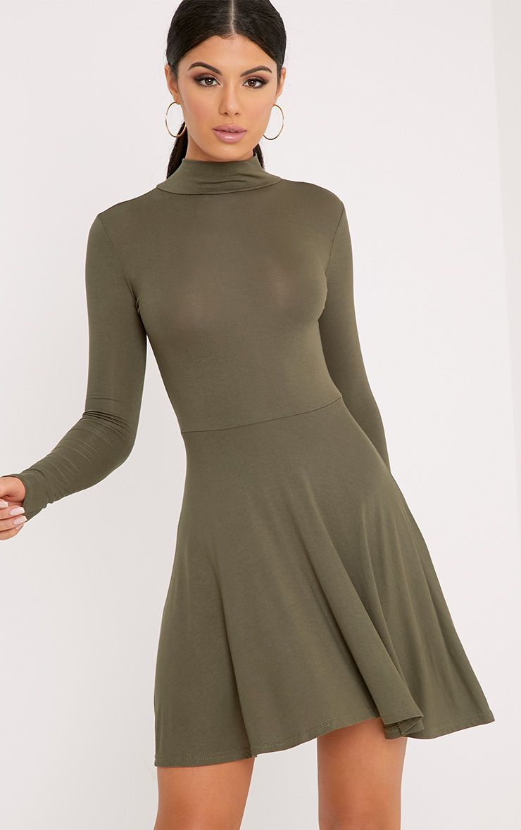 Basic Khaki High Neck Jersey Skater Dress