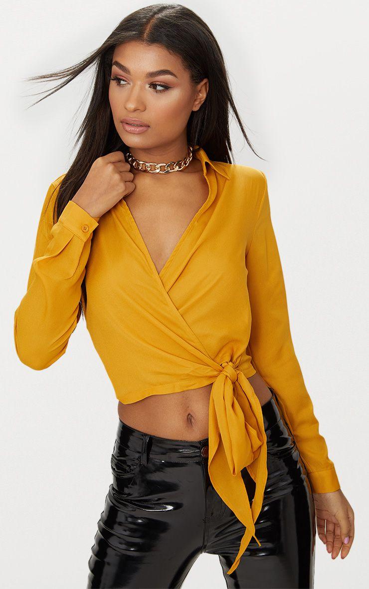 Mustard Avalyn Wrap Front Tie Side Blouse