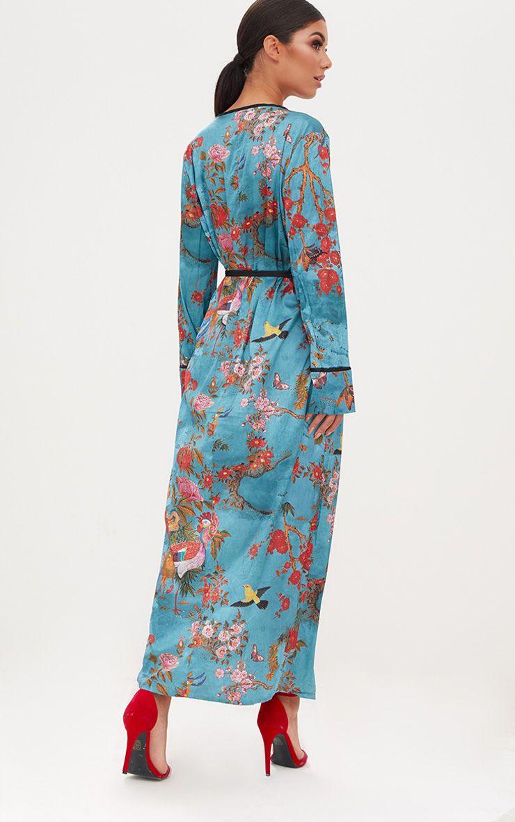 Teal Floral Satin Kimono. Coats u0026 Jackets | PrettyLittleThing