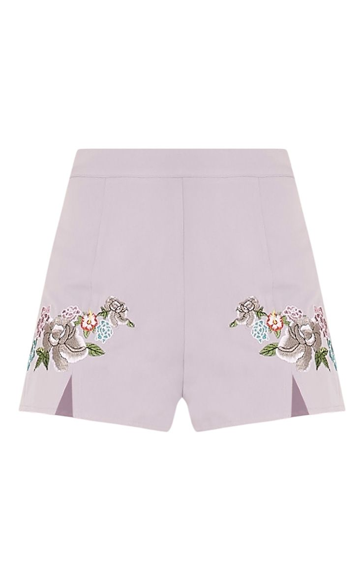 Angie grey floral embroidered shorts