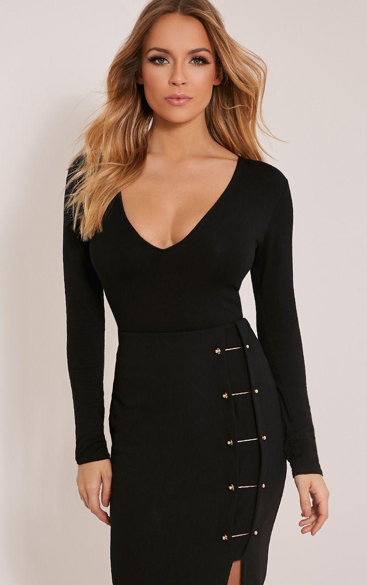 Nadie Black Plunge Jersey Bodysuit 1