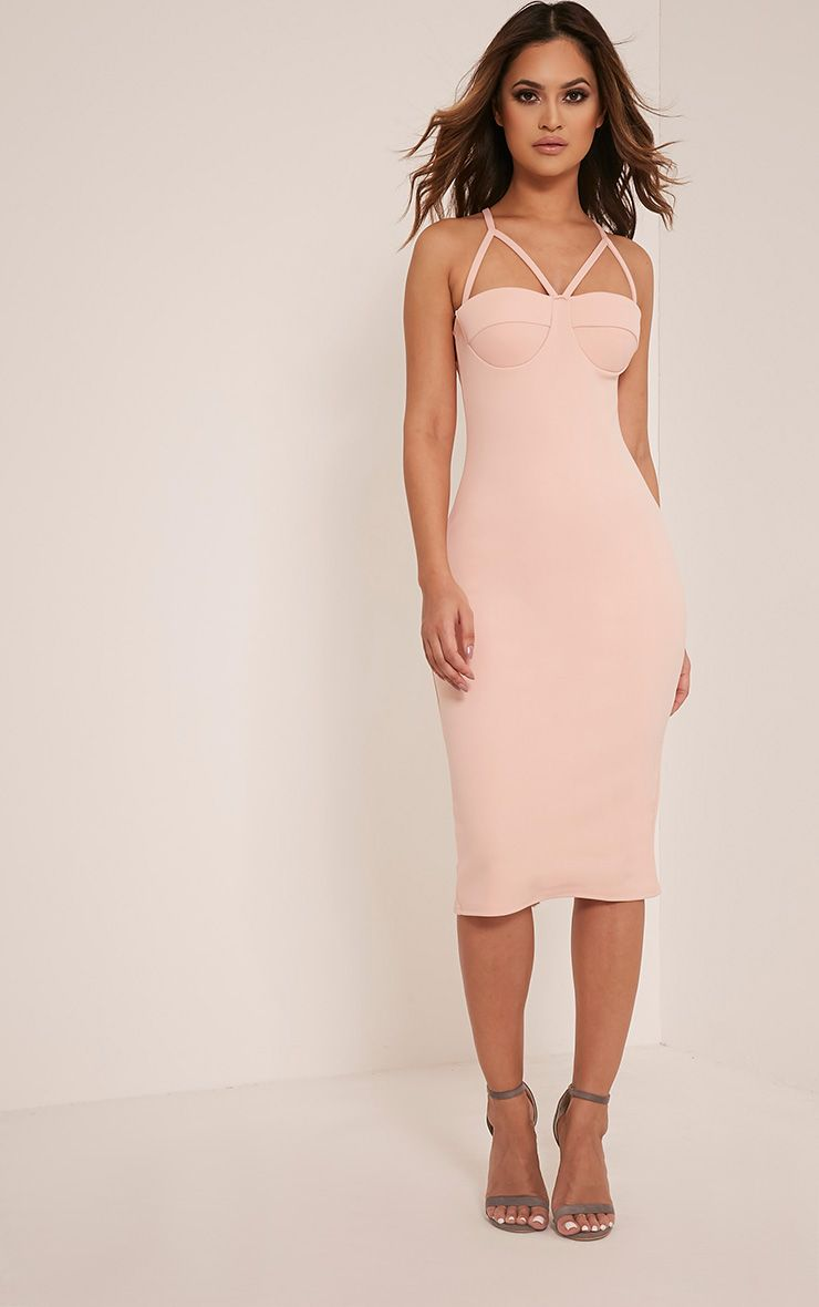 Phiona Nude Crepe Harness Detail Midi Dress 1