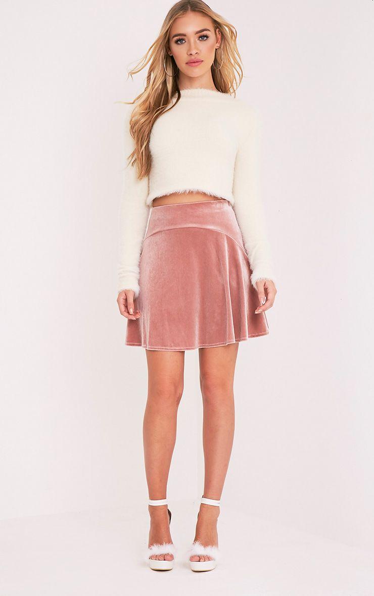 Lindy Blush Velvet Skater Mini Skirt 1
