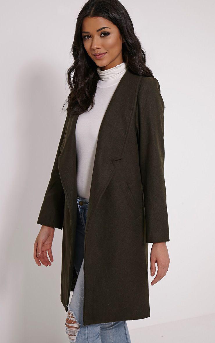 Saletta Khaki Oversized Wool Coat 1
