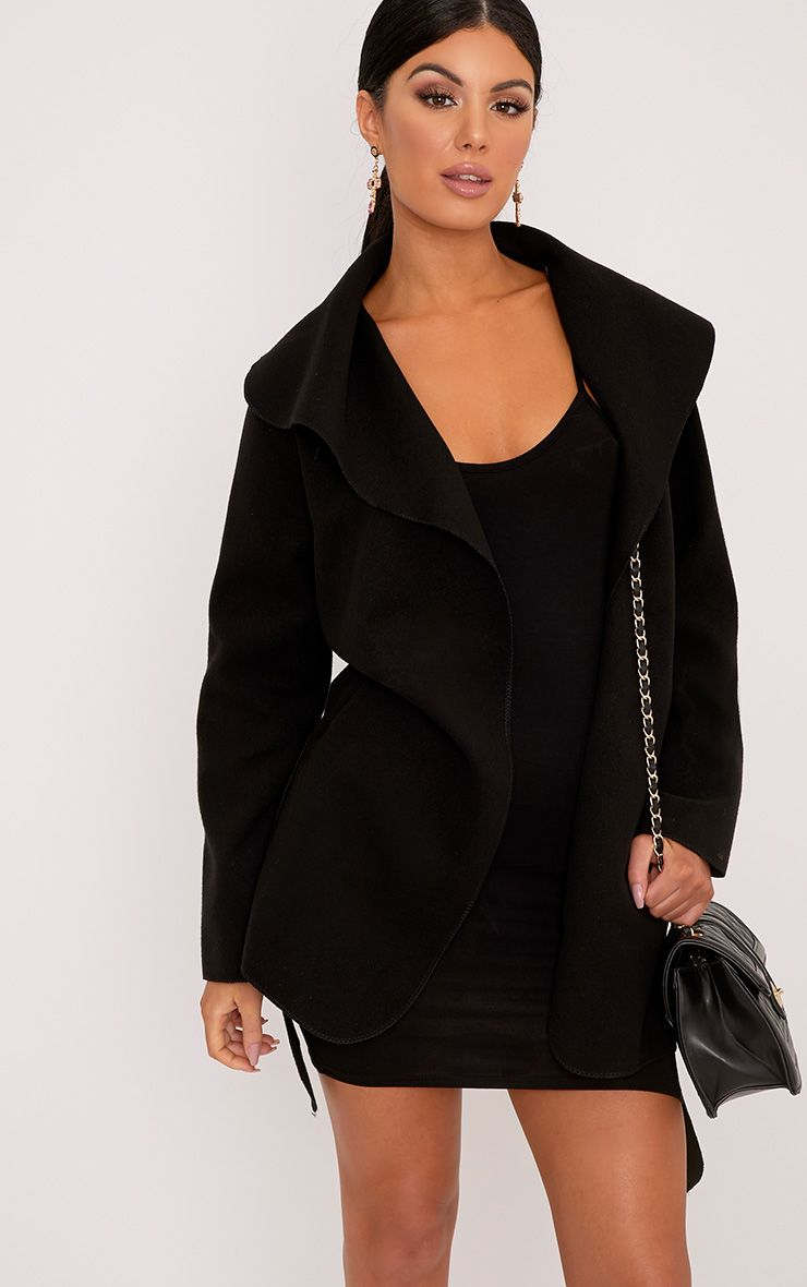 Irinie Black Waterfall Belted Coat
