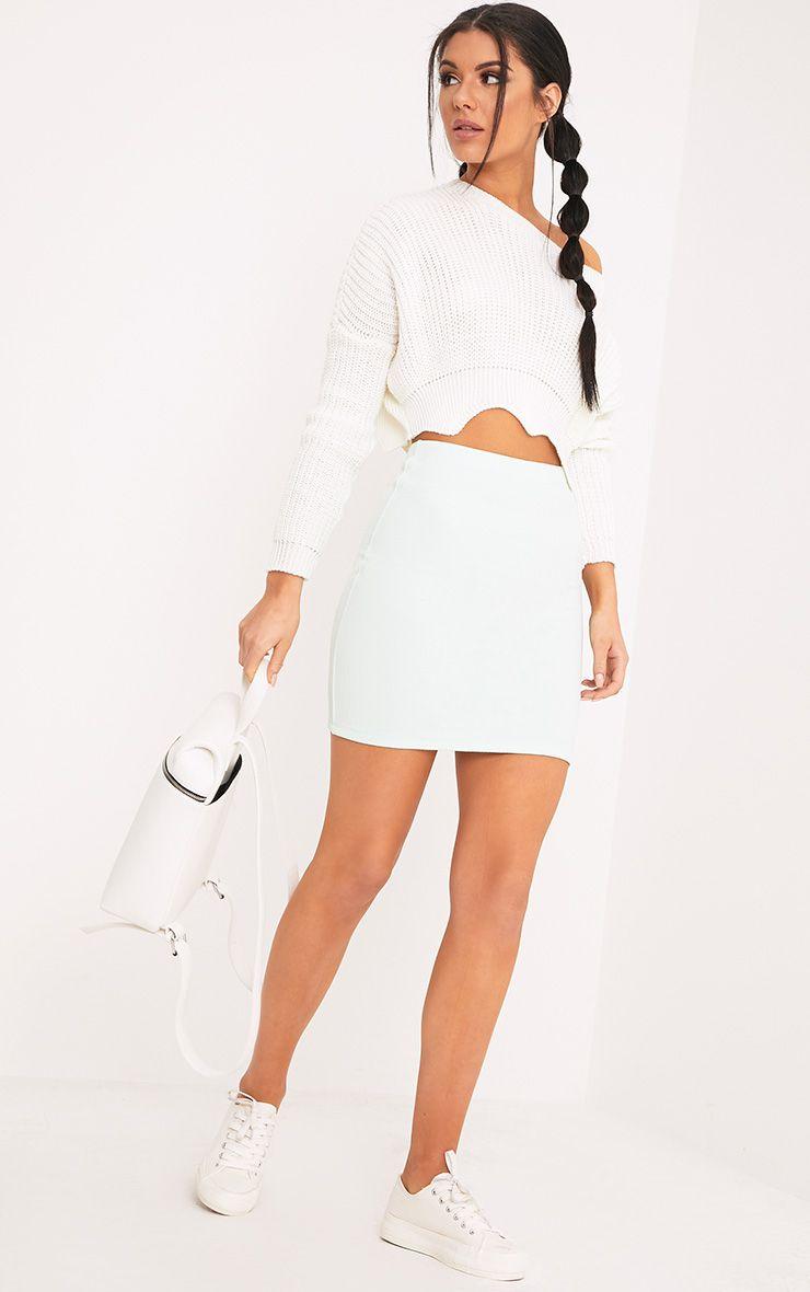 Steffy Mint Textured Mini Skirt 1