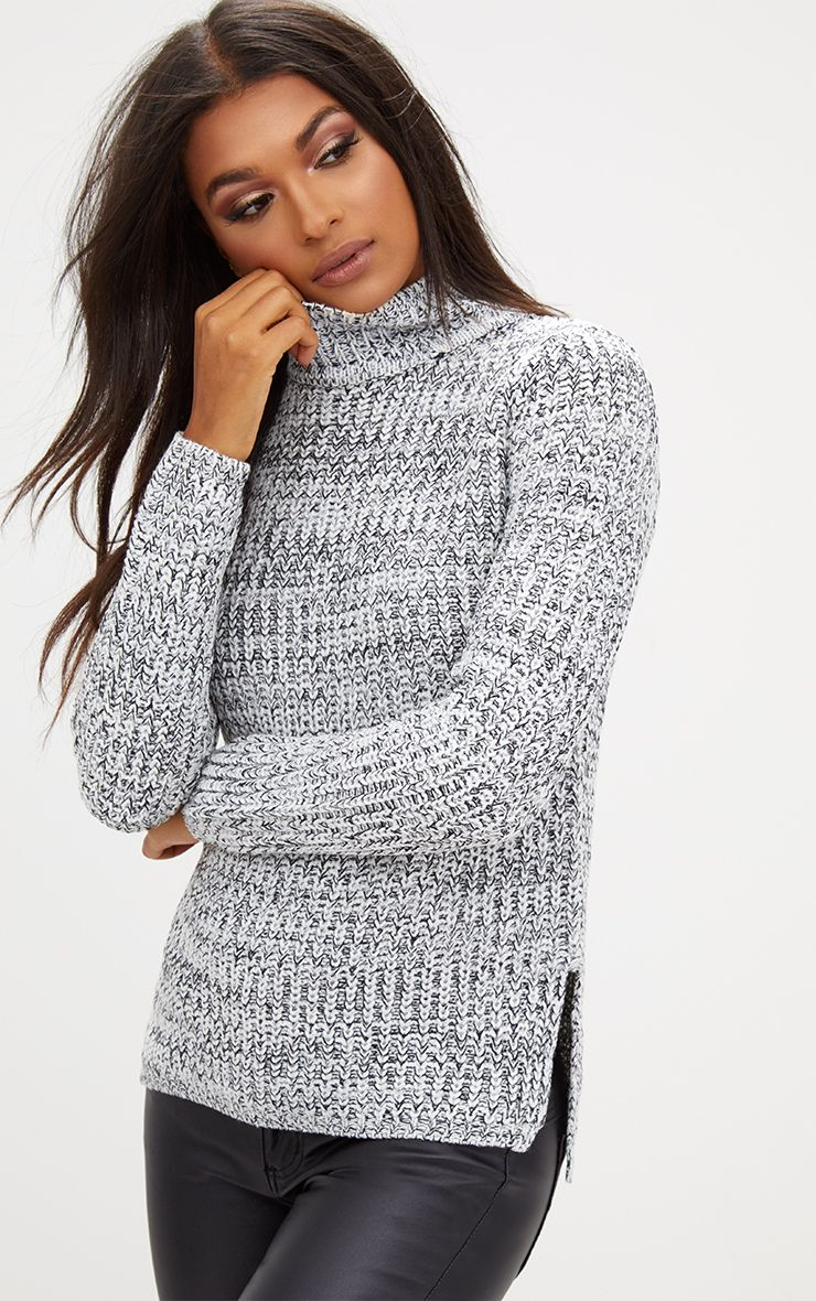 Grey Roll Neck Step Hem Jumper