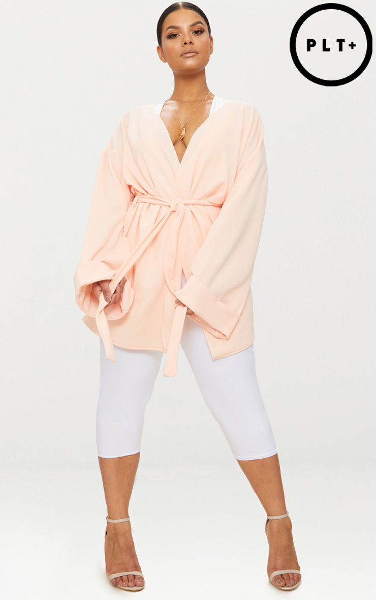Plus Nude Belted Oversized Sleeve Blazer