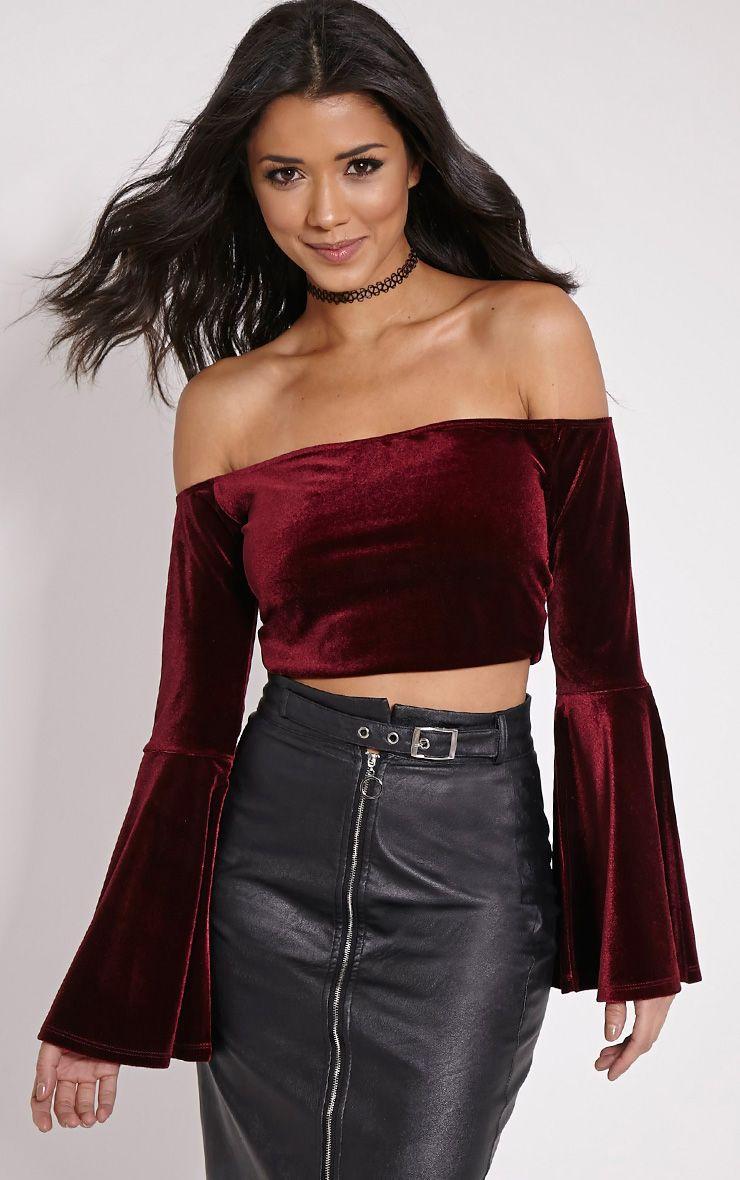 Lena Wine Velvet Bell Sleeve Bardot Crop Top 1