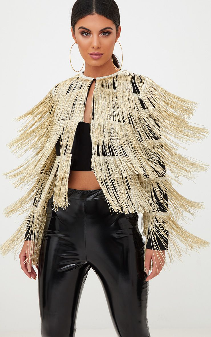 Gold Tassel Cropped Jacket