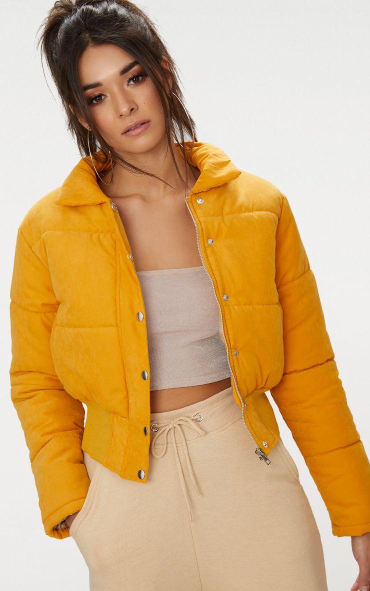 Mustard Peach Skin Cropped Puffer Jacket