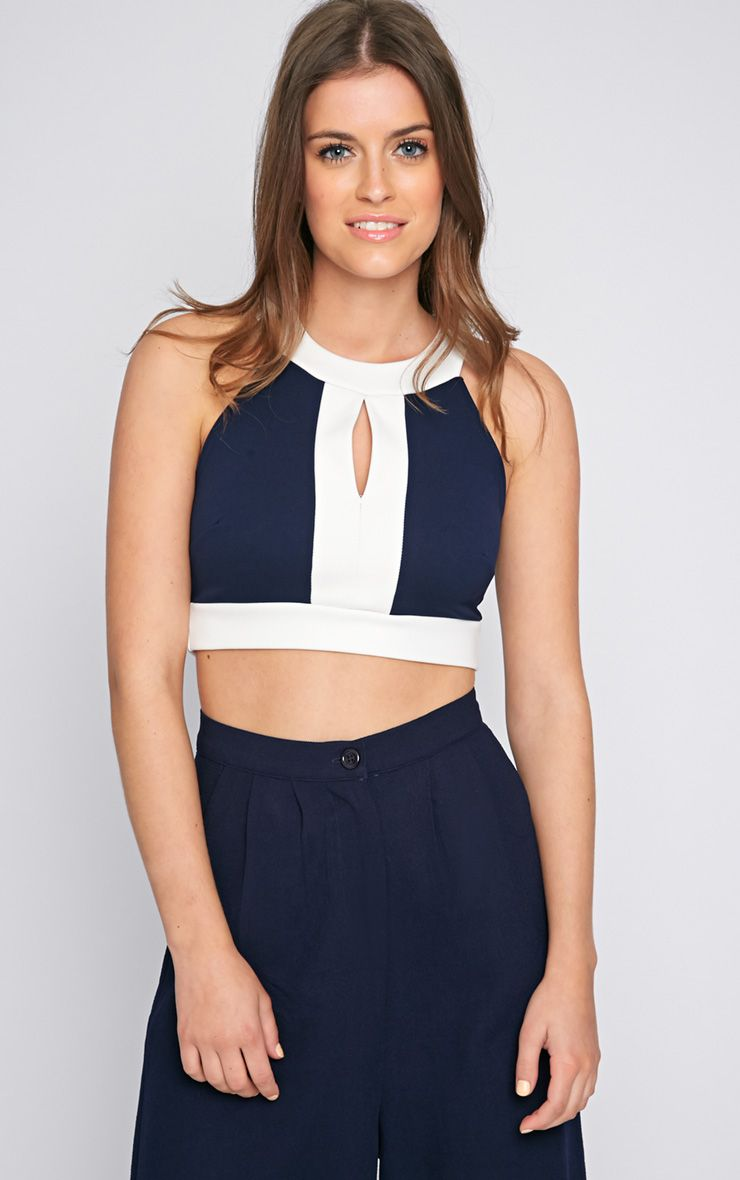 Perrie Navy Cut Out Crop Top  1