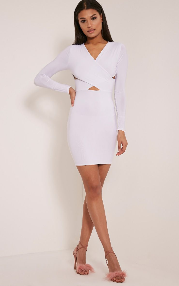 Tamaya White Long Sleeve cross front Bodycon Dress 1