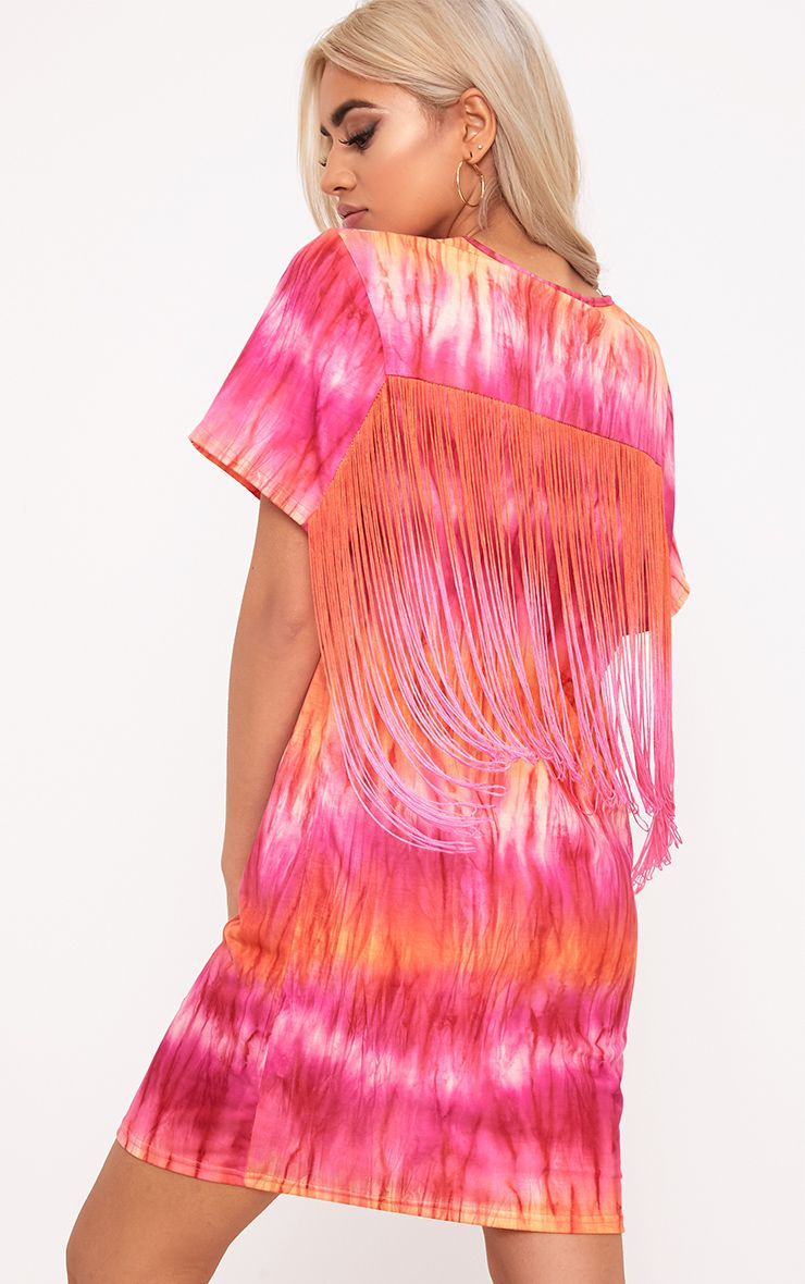 Pink Tie Dye Tassel T Shirt Dress  1